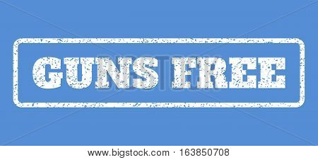 White rubber seal stamp with Guns Free text. Vector caption inside rounded rectangular shape. Grunge design and dirty texture for watermark labels. Horisontal emblem on a blue background.