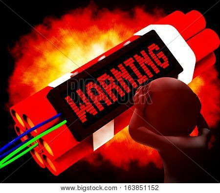 Warning Dynamite Sign Meaning Caution 3D Rendering