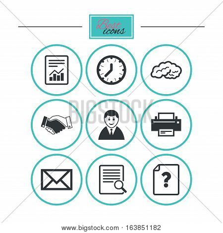 Office, documents and business icons. Deal, mail and businessman signs. Report, magnifier and brain symbols. Round flat buttons with icons. Vector