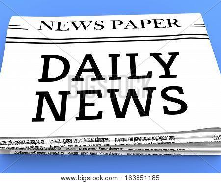 Daily Newspaper Shows Regular News 3D Rendering