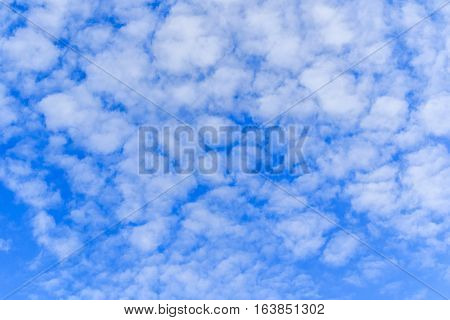 Blue sky background with tiny clouds .