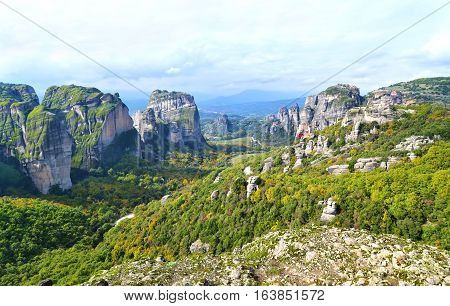 Meteora landscape Kalabaka Greece - Orthodox religious places