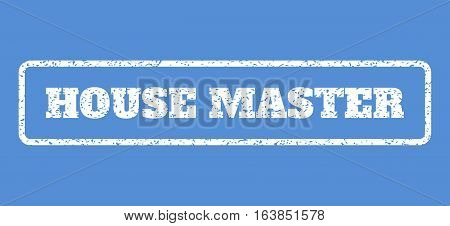 White rubber seal stamp with House Master text. Vector tag inside rounded rectangular shape. Grunge design and dirty texture for watermark labels. Horisontal sticker on a blue background.