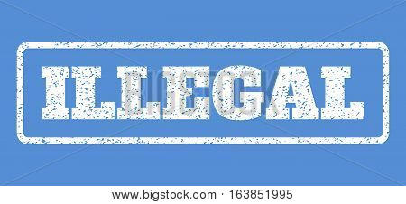 White rubber seal stamp with Illegal text. Vector tag inside rounded rectangular frame. Grunge design and dust texture for watermark labels. Horisontal sticker on a blue background.