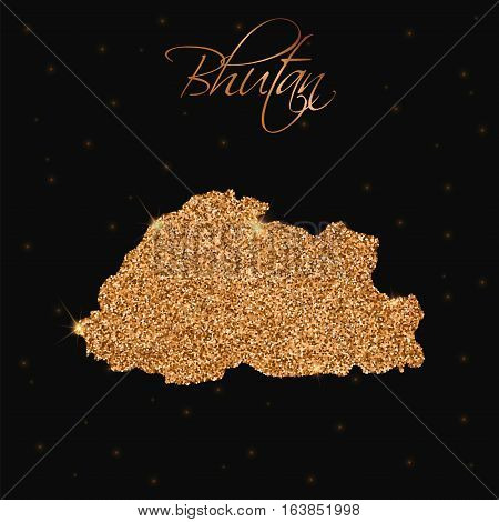 Bhutan Map Filled With Golden Glitter. Luxurious Design Element, Vector Illustration.