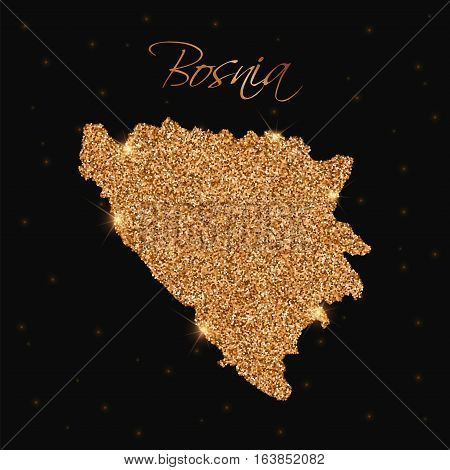 Bosnia Map Filled With Golden Glitter. Luxurious Design Element, Vector Illustration.