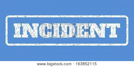 White rubber seal stamp with Incident text. Vector message inside rounded rectangular banner. Grunge design and dust texture for watermark labels. Horisontal emblem on a blue background.