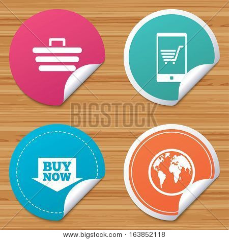 Round stickers or website banners. Online shopping icons. Smartphone, shopping cart, buy now arrow and internet signs. WWW globe symbol. Circle badges with bended corner. Vector