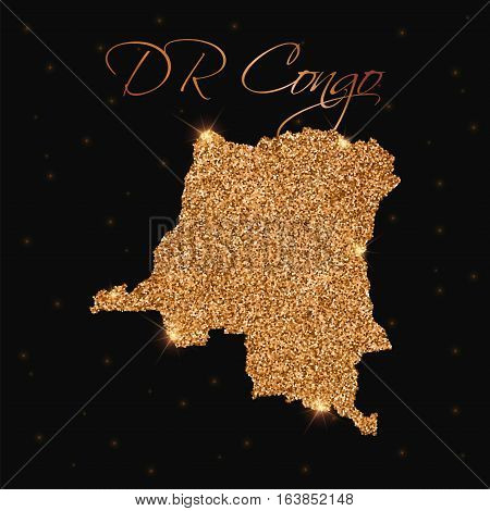 Dr Congo Map Filled With Golden Glitter. Luxurious Design Element, Vector Illustration.