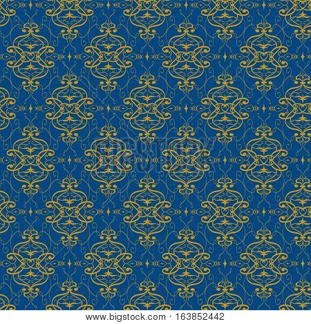 Ornamental seamless vector pattern. Gorgeous floral ornament in gold and dark blue in eastern design.