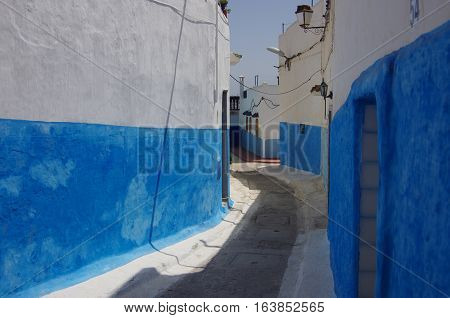 White And Blue Alleys In The Old Medina Of Rabat