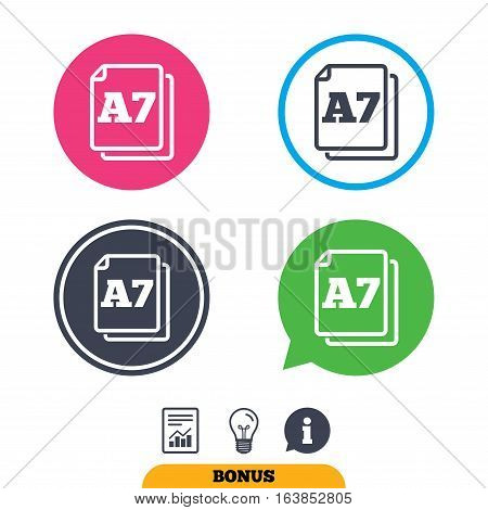 Paper size A7 standard icon. File document symbol. Report document, information sign and light bulb icons. Vector
