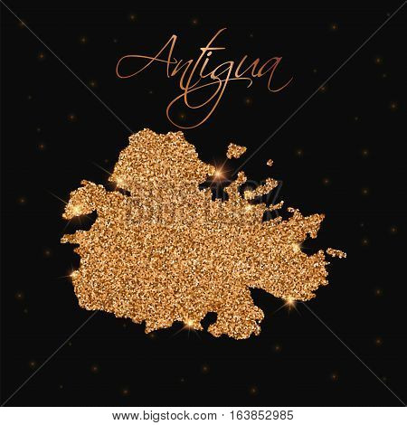 Antigua Map Filled With Golden Glitter. Luxurious Design Element, Vector Illustration.