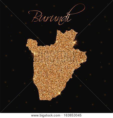 Burundi Map Filled With Golden Glitter. Luxurious Design Element, Vector Illustration.