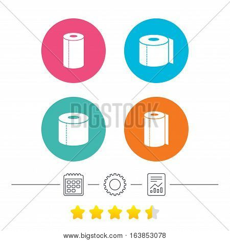 Toilet paper icons. Kitchen roll towel symbols. WC paper signs. Calendar, cogwheel and report linear icons. Star vote ranking. Vector