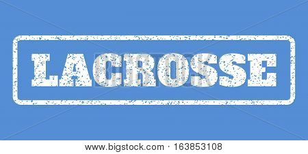 White rubber seal stamp with Lacrosse text. Vector tag inside rounded rectangular frame. Grunge design and unclean texture for watermark labels. Horisontal sign on a blue background.