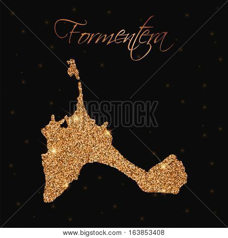 Formentera Map Filled With Golden Glitter. Luxurious Design Element, Vector Illustration.