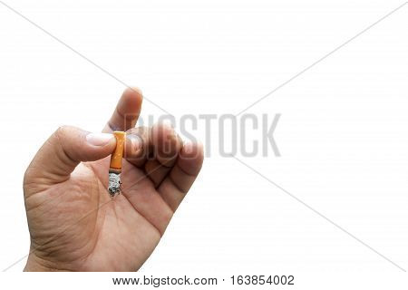 fag end in hand on isolated white