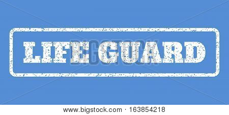 White rubber seal stamp with Life Guard text. Vector message inside rounded rectangular banner. Grunge design and unclean texture for watermark labels. Horisontal sticker on a blue background.