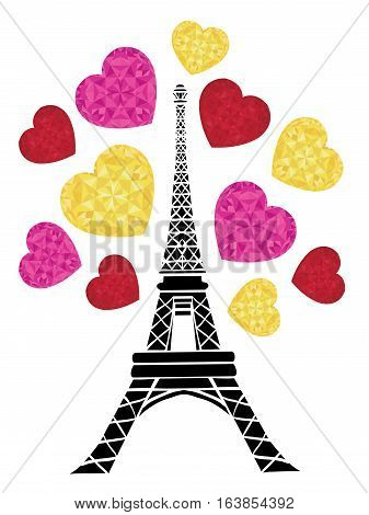 Unique vector Vector Eifel Tower Paris Bursting With St Valentines Day Pink Red Golden Hearts Of Love. Great for travel themed postcards, greeting cards, wedding invitations, products, bags, accessories, luggage, clothing.