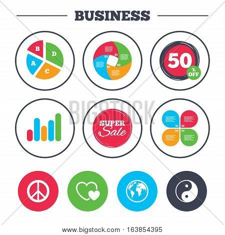 Business pie chart. Growth graph. World globe icon. Ying yang sign. Hearts love sign. Peace hope. Harmony and balance symbol. Super sale and discount buttons. Vector