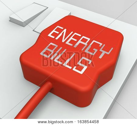 Energy Bills Plug Shows Electric Invoices 3D Rendering