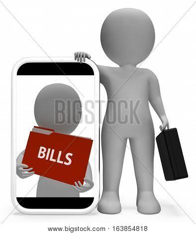 Bills Folder Meaning Binder Correspondence 3D Rendering