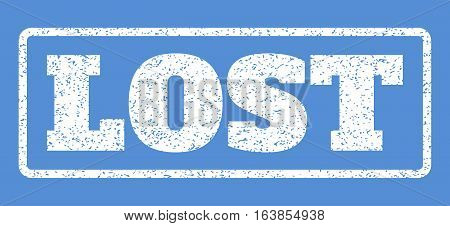 White rubber seal stamp with Lost text. Vector caption inside rounded rectangular shape. Grunge design and dirty texture for watermark labels. Horisontal emblem on a blue background.