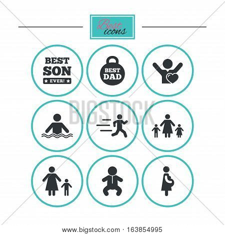 People, family icons. Swimming, baby and pregnant woman signs. Best dad, runner and fan symbols. Round flat buttons with icons. Vector