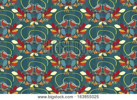 Beautiful bullfinch vector pattern. Gorgeous leaves mushrooms birds seamless illustration. Good for textile design backgrounds. Autumn. Winter