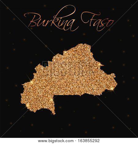 Burkina Faso Map Filled With Golden Glitter. Luxurious Design Element, Vector Illustration.