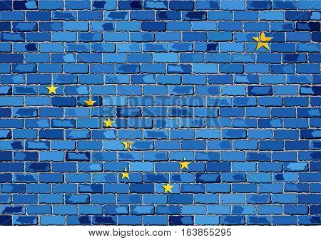 Flag of Alaska on a brick wall with effect - 3D Illustration,  The flag of the state of Alaska on brick background,  Alaska flag in brick style