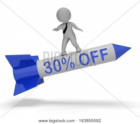 Thirty Percent Off Character On Rocket Means Discount 3d Illustration poster