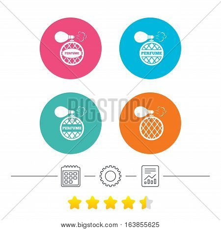 Perfume bottle icons. Glamour fragrance sign symbols. Calendar, cogwheel and report linear icons. Star vote ranking. Vector