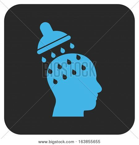 Brain Washing glyph icon. Image style is a flat icon symbol on a rounded square button blue and gray colors.