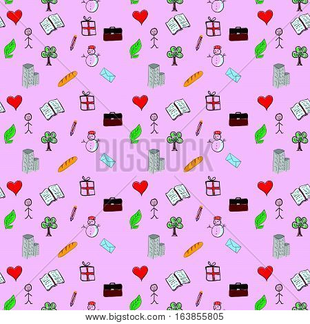 Pattern Design Set One Illustration On Pink Background