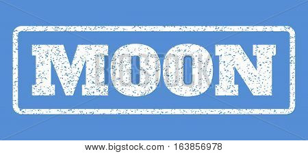 White rubber seal stamp with Moon text. Vector tag inside rounded rectangular banner. Grunge design and dust texture for watermark labels. Horisontal sign on a blue background.