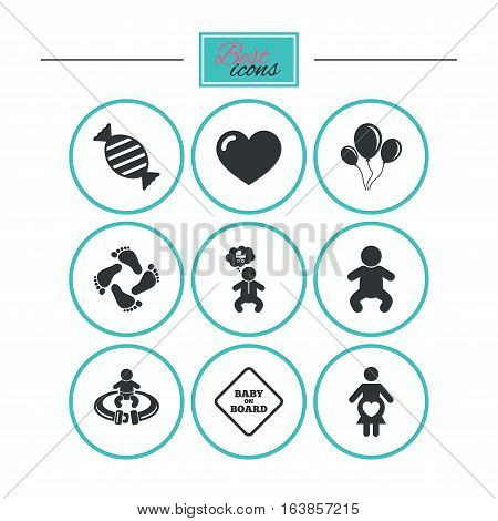 Pregnancy, maternity and baby care icons. Candy, strollers and fasten seat belt signs. Footprint, love and balloon symbols. Round flat buttons with icons. Vector