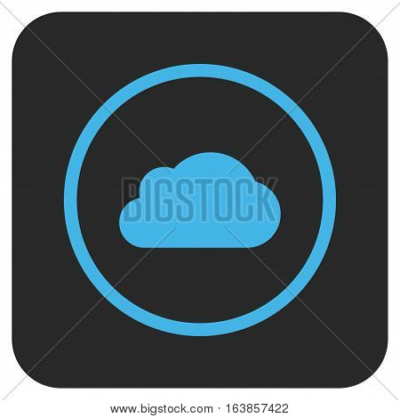 Cloud glyph icon. Image style is a flat icon symbol inside a rounded square button blue and gray colors.