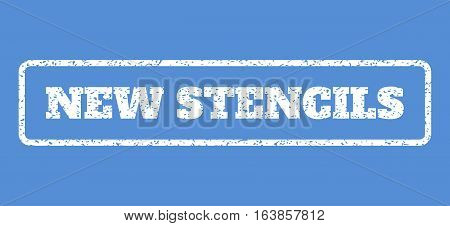 White rubber seal stamp with New Stencils text. Vector caption inside rounded rectangular frame. Grunge design and unclean texture for watermark labels. Horisontal sticker on a blue background.