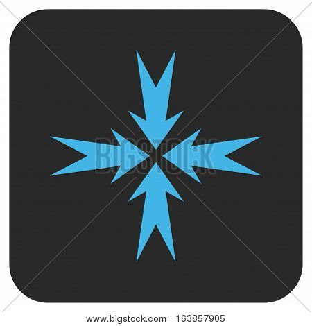 Compression Arrows glyph icon. Image style is a flat icon symbol in a rounded square button blue and gray colors.