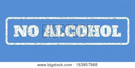 White rubber seal stamp with No Alcohol text. Vector tag inside rounded rectangular banner. Grunge design and scratched texture for watermark labels. Horisontal emblem on a blue background.