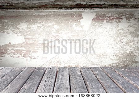 retro wood table on grunge wood background