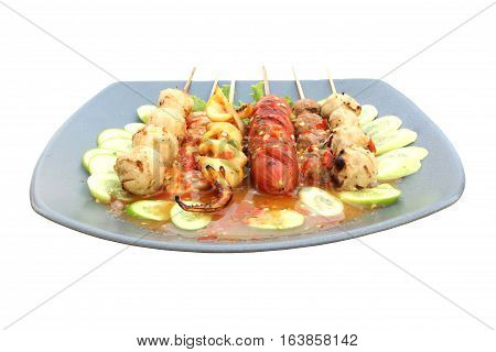 meat ball in plate on isolated white