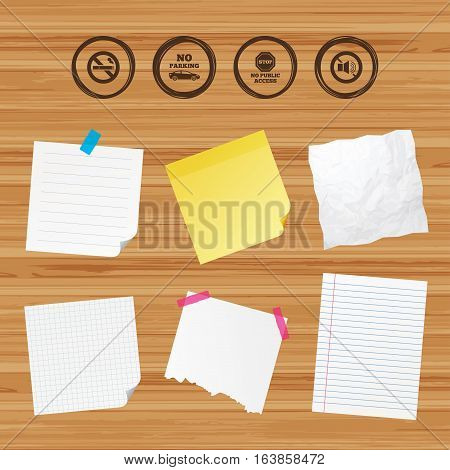 Business paper banners with notes. Stop smoking and no sound signs. Private territory parking or public access. Cigarette symbol. Speaker volume. Sticky colorful tape. Vector