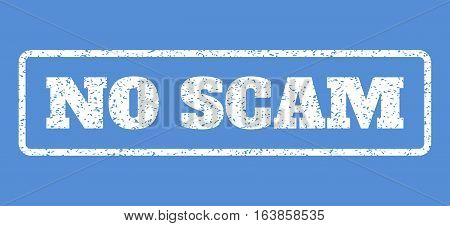 White rubber seal stamp with No Scam text. Vector tag inside rounded rectangular frame. Grunge design and dust texture for watermark labels. Horisontal sign on a blue background.