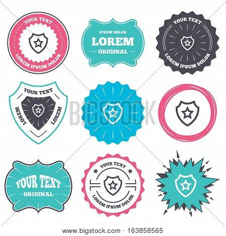 Label and badge templates. Shield with star icon. Favorite protection symbol. Retro style banners, emblems. Vector