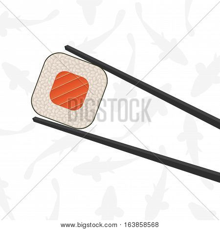 Chopsticks holding sushi roll. White background. Vector illustration