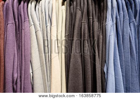 Vertical Rows Of Colored Mens Shirts