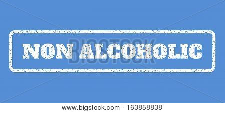 White rubber seal stamp with Non Alcoholic text. Vector caption inside rounded rectangular banner. Grunge design and scratched texture for watermark labels. Horisontal emblem on a blue background.
